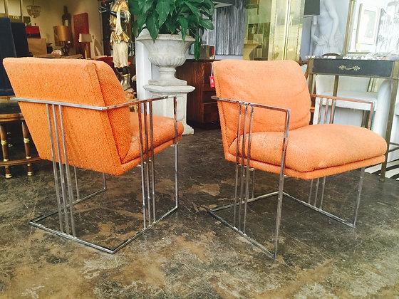 #1306 Milo Baughman Chrome Cube Chairs