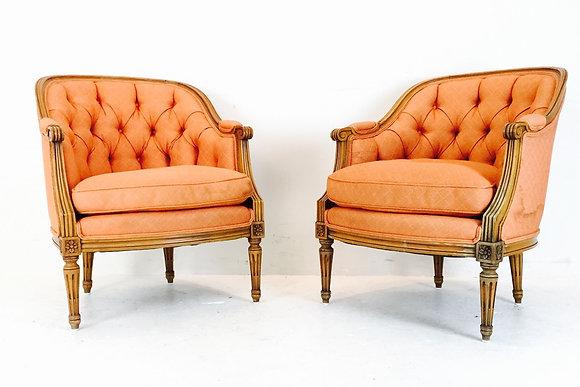 #1815 Pair Orange Tufted Crescent Back Armchairs