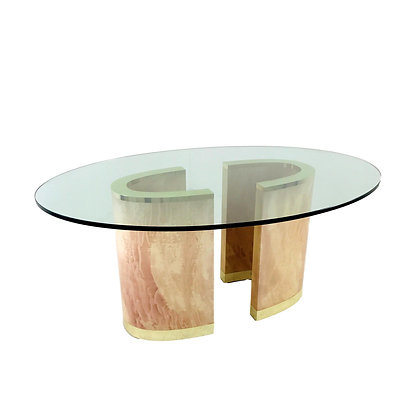 #4950 2-Piece Base Dining Table with Brass Plinth & Glass Top