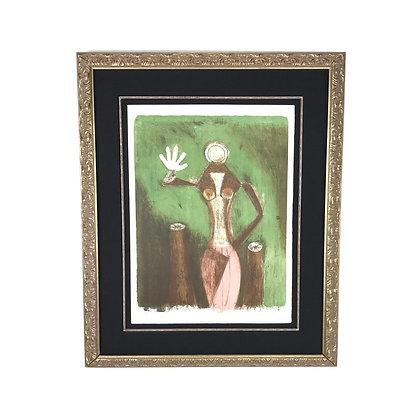 #4901 Green Abstract Framed Art