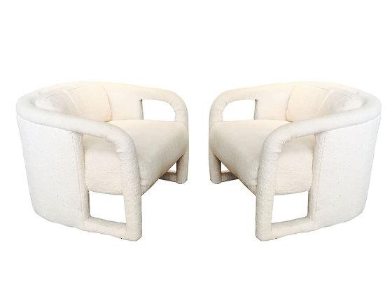 #2683 Pair 80s Parson Style Milo Baughman Chairs
