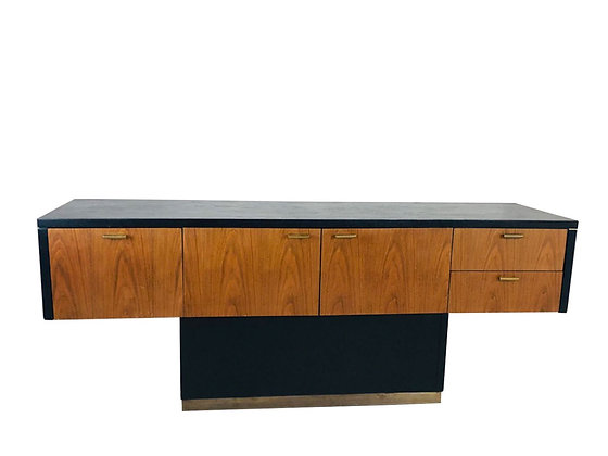 #4151 Black & Wood Front T-Console with Brass Accents