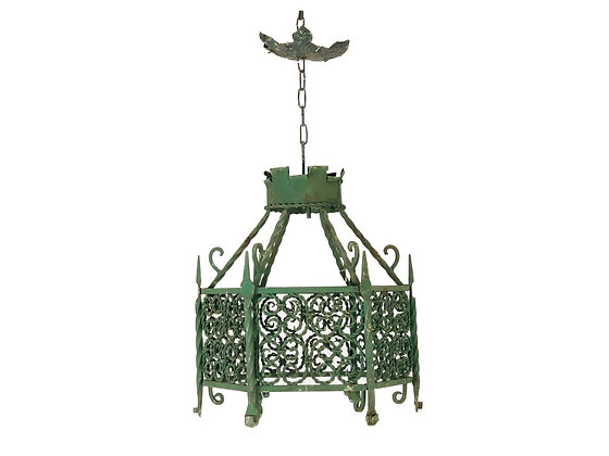 #4228 - Iron Chandelier Cage in a Verde Finish - 2 Available