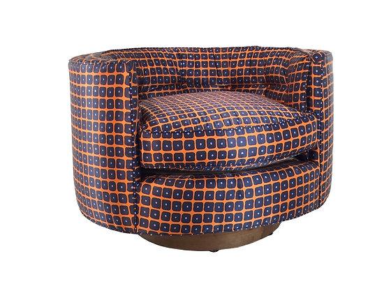 #2241 Single Milo Style Blue & Orange Swivel Chair