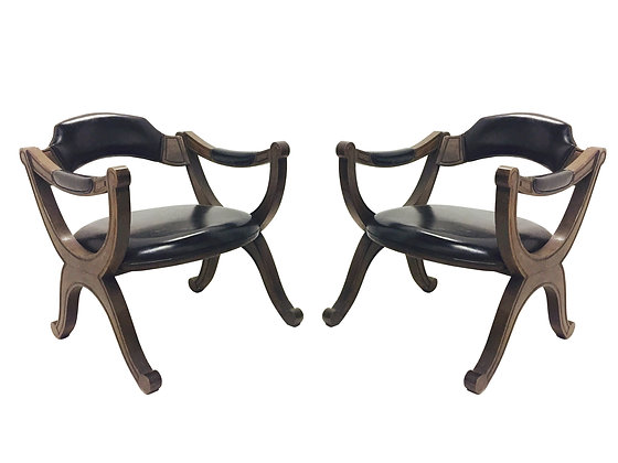 #2480 Pr Drexel Wood Detail Armchairs