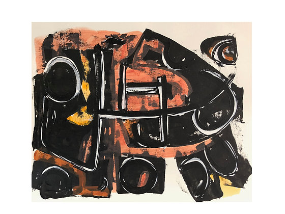 #4038 Orange and Black Abstract on Paper (two different paintings available)
