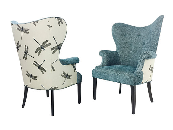 #2134 Pair ButterflyWing Chairs w/Blue Dragonflies