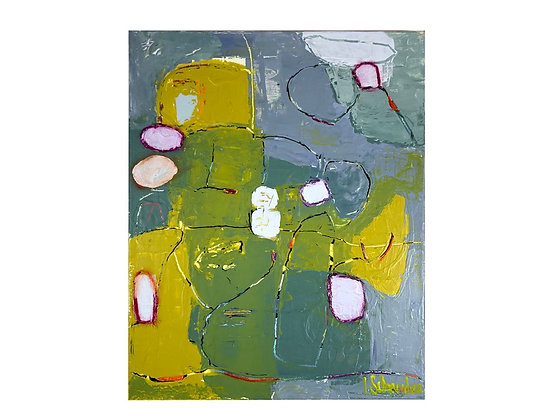 #4037 Blue & Yellow Abstract Painting by Liz Schneider