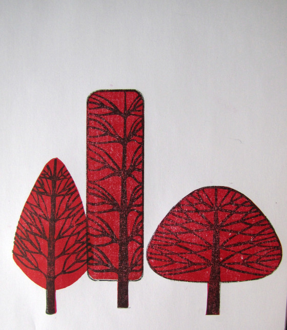 2 Colour Print of Quirky Trees