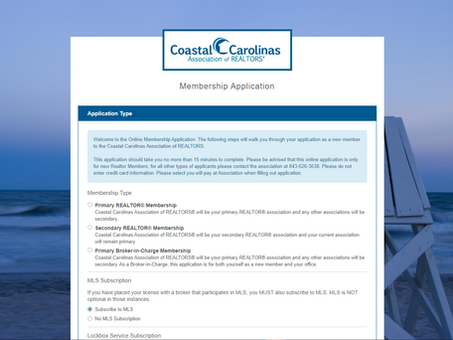 Coastal Carolinas AOR makes a great first impression with Online Membership Application