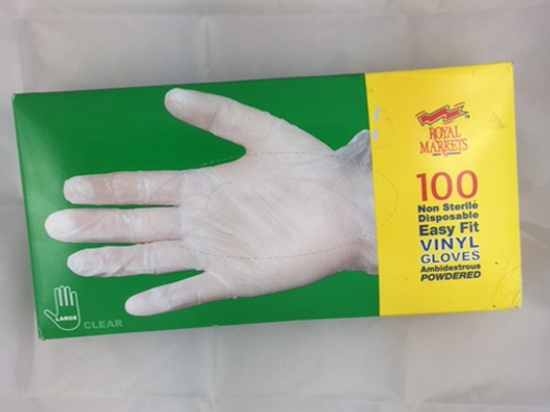 100 pack Clear Vinyl Gloves Large Size Non Sterile Powdered
