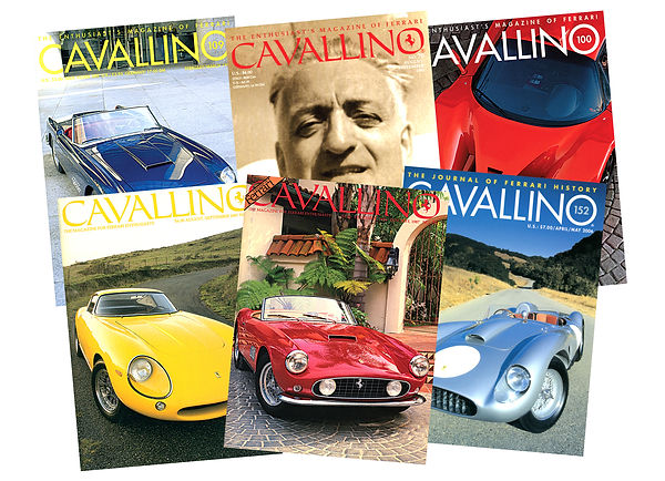 Various back issue covers of Cavallino magazine
