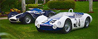 Two classic Masterati racers on the field at Mar-a-Lago during Classic Sports Sunday.
