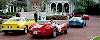 Classic Ferraris line up on their way into the Concorso d'Eleganza.