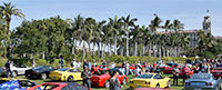 A sea of Ferraris, green grass, and palm trees at The Breakers Palm Beach during the Cavallino Classic.