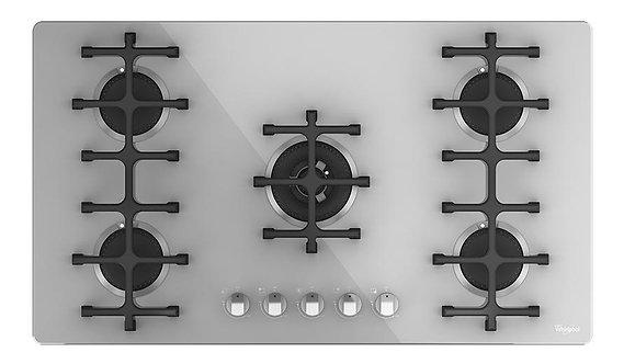 Parrilla de Gas Empotrable Cristal Blanco Whirlpool WP3790E 5 Quemadores 90 cms