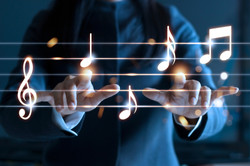 Abstract woman hands playing music notes