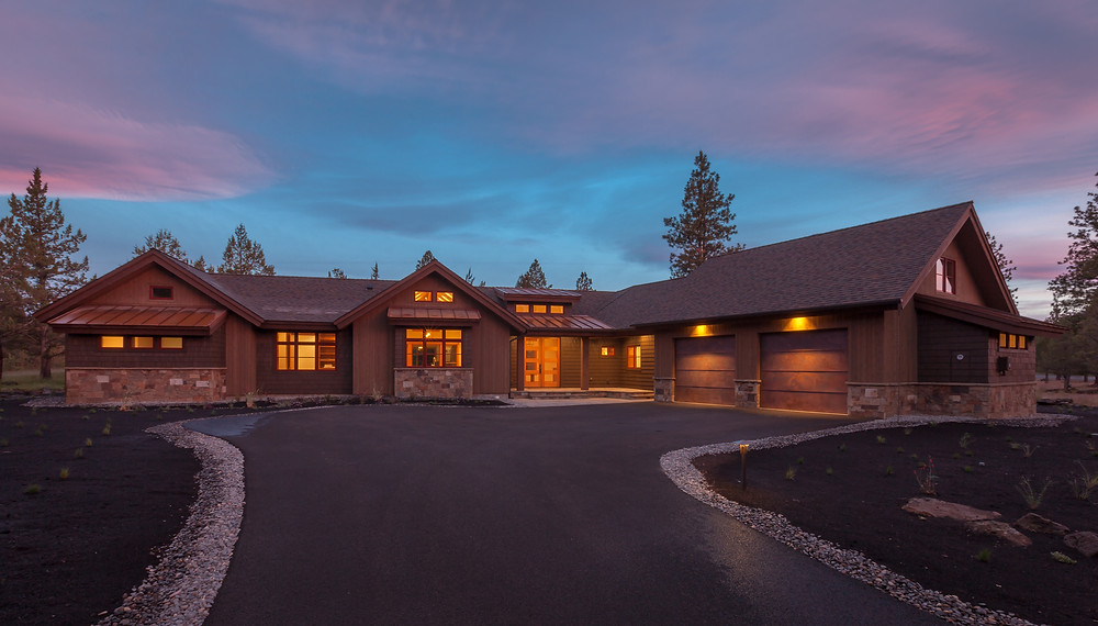 Custom home in Sisters designed by Karen Smuland, Architect and built by Trevin Duey Interiors by Legum Design