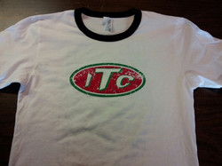 2 color distressed print on ringer t