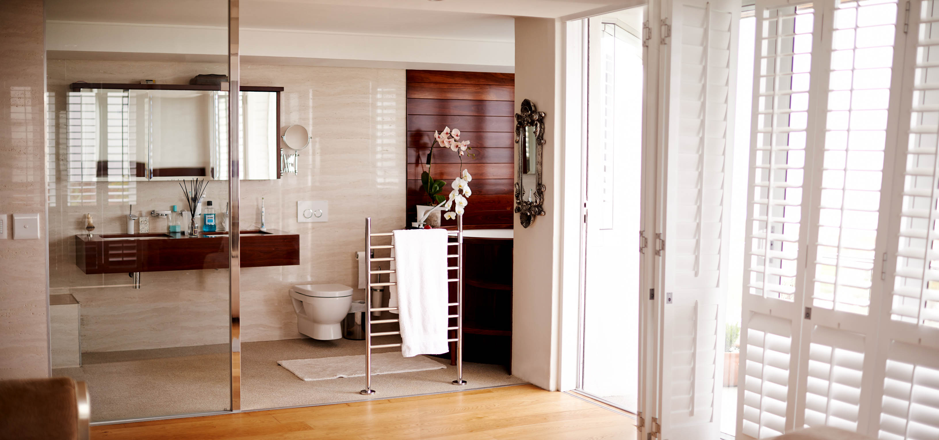 Timber Vanity and Wall Cladding