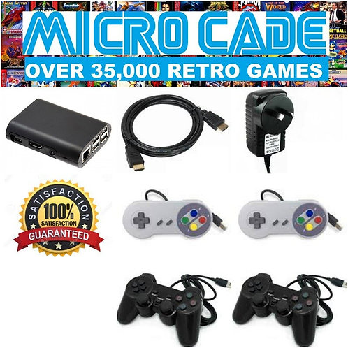MICRO CADE OVER 35,000 RETRO GAMES WITH 2 X PS CONTROLLERS AND 2 X SNES CONTROLL