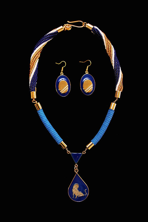 Multi-Coloured Single Beaded Necklace and Earring Set