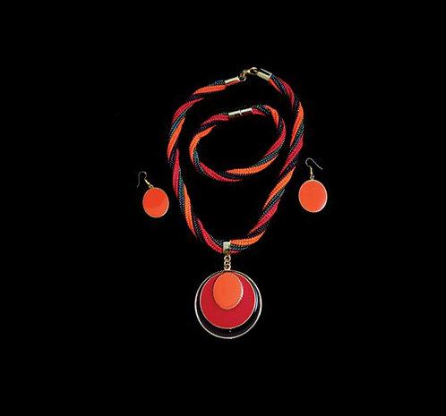 House of Mandela Twisted Beaded Necklace Set with a Bangle