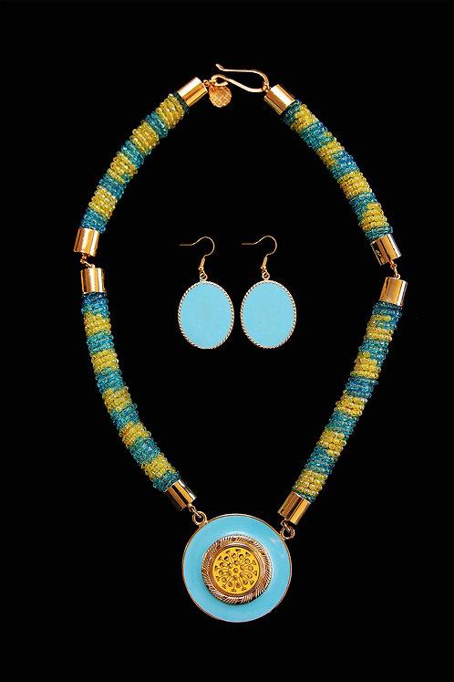 House of Mandela Multi-Coloured Single Beaded Necklace and Earring Set