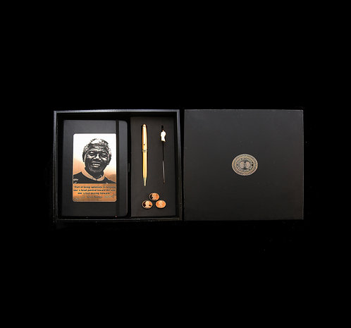 House of Mandela Silhouette Diary with Pen, Cufflinks and Pin Set – Gold Plated
