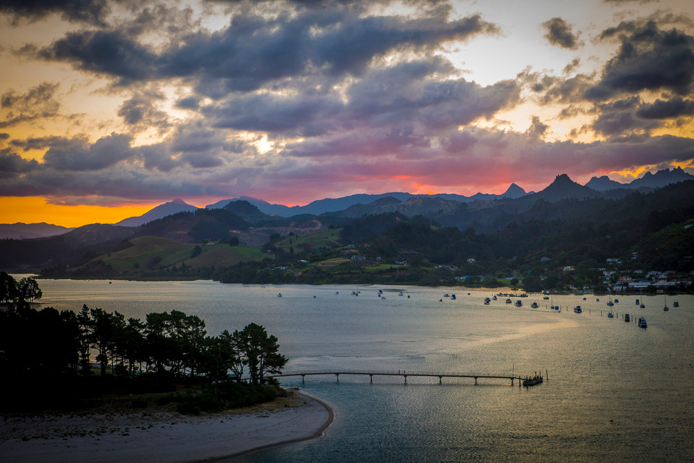 Sun setting over the Coromandel ranges & Tairua. A perfect holiday spot.