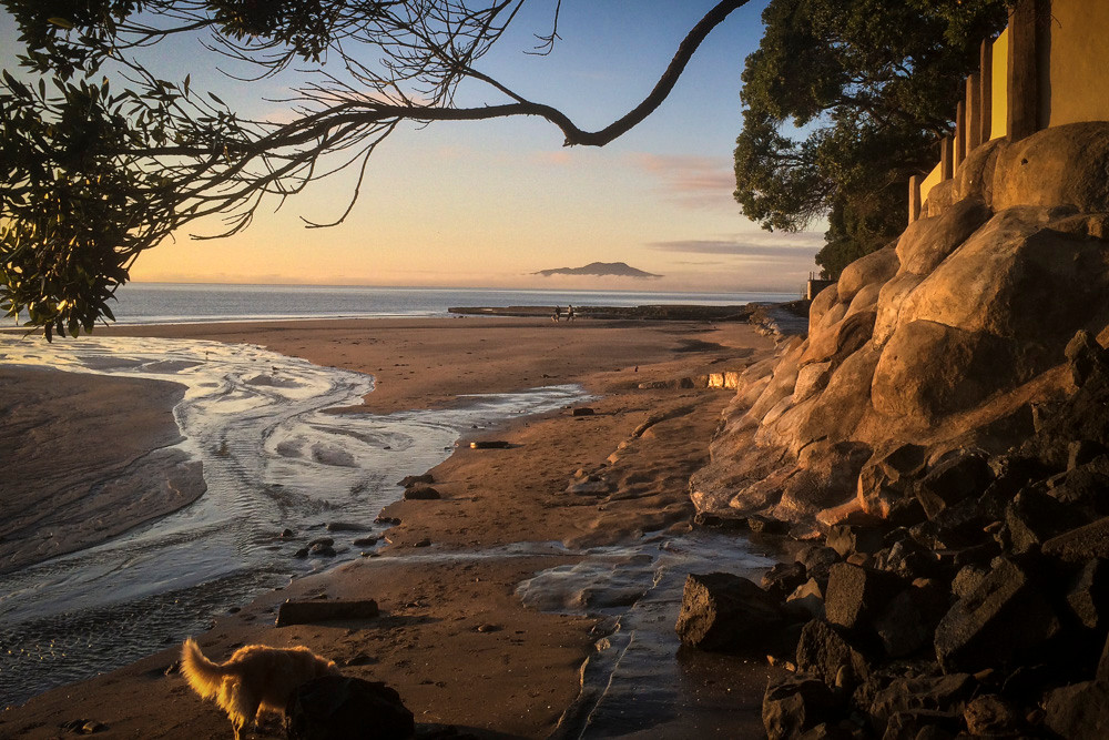 Mairangi Bay beach with Rangitoto rising from its night bed of mist.