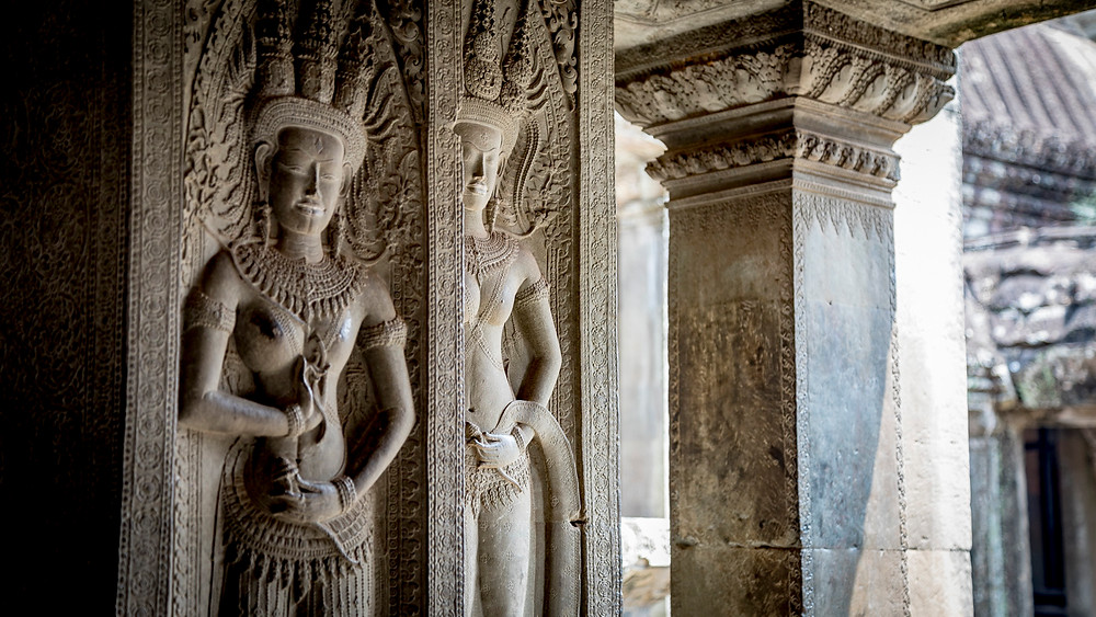The intricate relief carvings throughout Angkor Wat are a testament to long forgotten master craftsmen