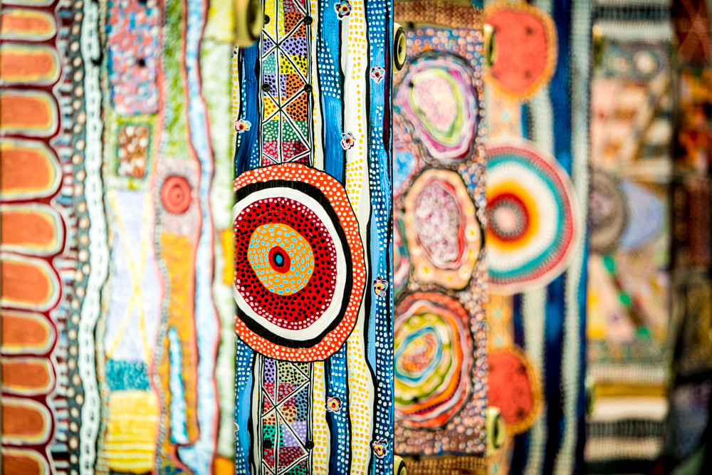 Decorated skateboards in the National Gallery of Victoria in Melbourne. Aboriginal (or aboriginal-inspired) art meets modern objects.