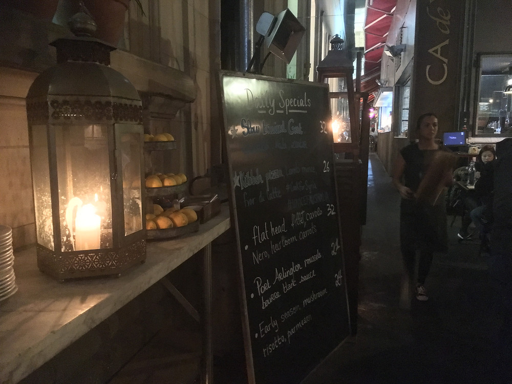 One of the joys of Melbourne is that it is a very cosmopolitan city, so this Italian restaurant, huddled in an alleyway, was a joy & the food was superb!
