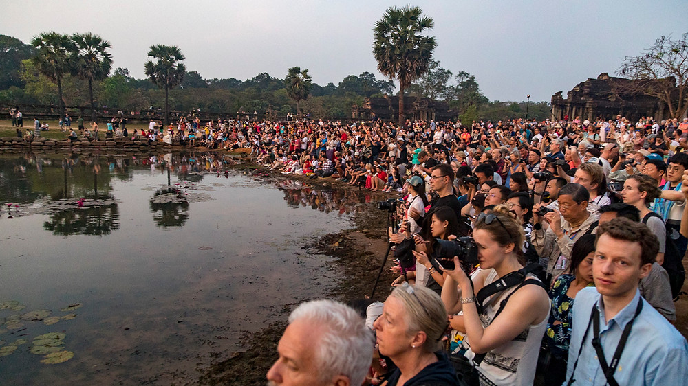 The cast of thousands attending sunrise at Angkor Wat, or wildebeest at the watering hole, whichever you prefer!