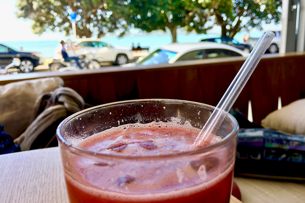A summer holiday treat. A fresh fruit juice from St Heliers Bay Café