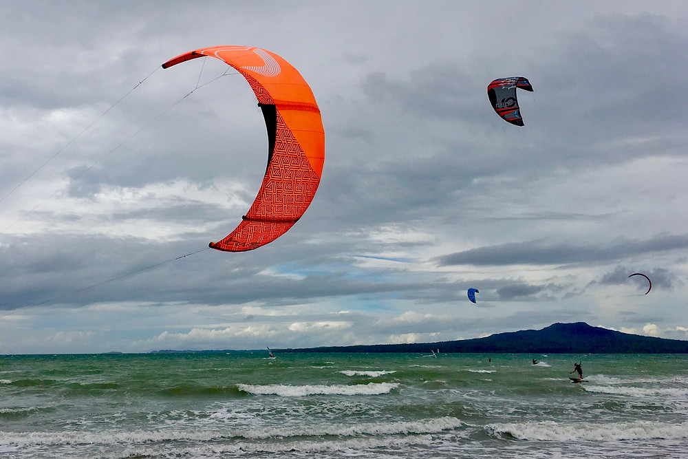 Walking along Takapuna beach today, the weather was wild & the kite surfers were out. Good exercise!