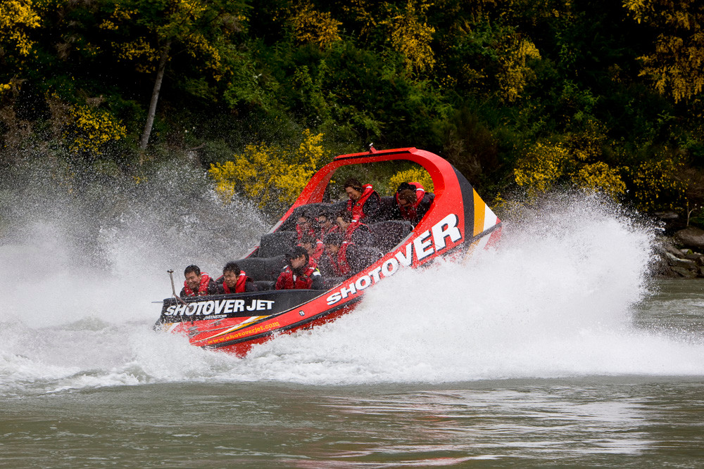 The Shotover Jet boats - one of Queenstown's many thrill rides. Not into it myself, but loved watching from the safety of the banks!