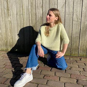 Lente trui met ronde hals en korte mouwen