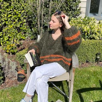 Mohair trui met V-hals en lange mouwen