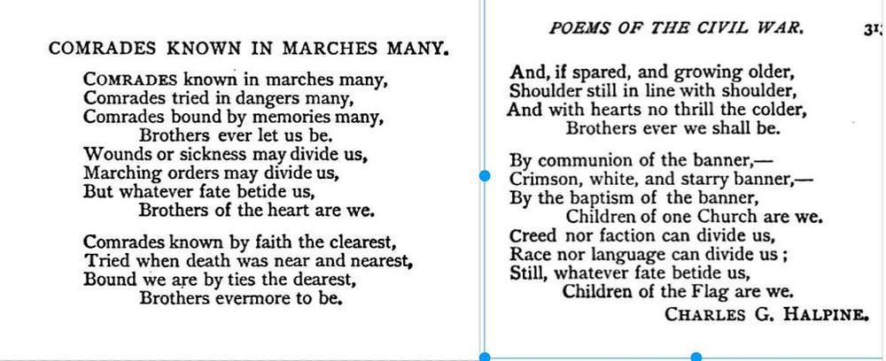 poem by Charles G. Halpine, New York 69th Infantry, American Civil War