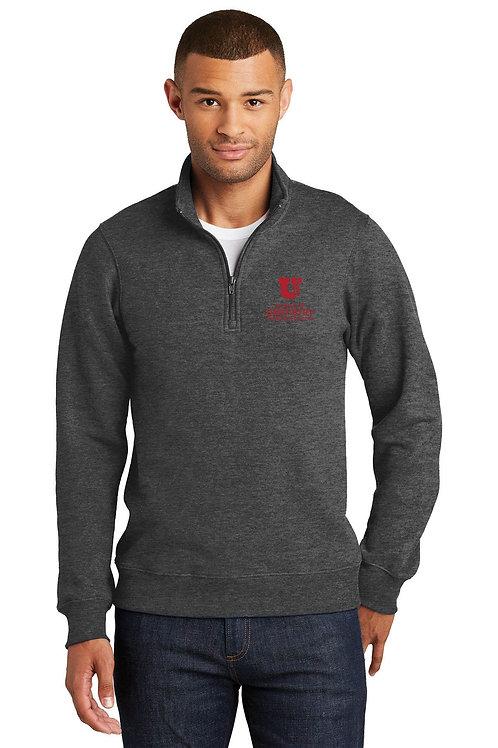 UUSOD Unisex 1/4 Zip Pullover Sweater- Dark Heather Grey
