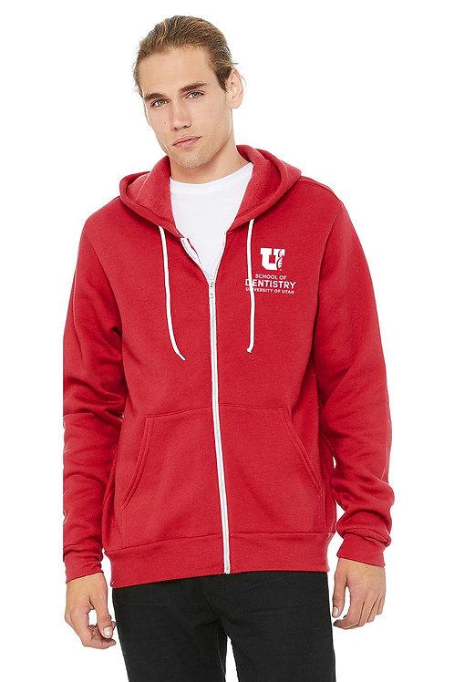 UUSOD Unisex Full-Zip Hoodie- Red