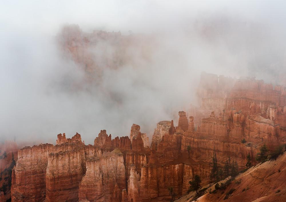 hoodoos shrouded in fog