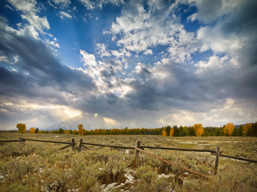 Fall Color, Fence and Crepuscular Rays.jpg