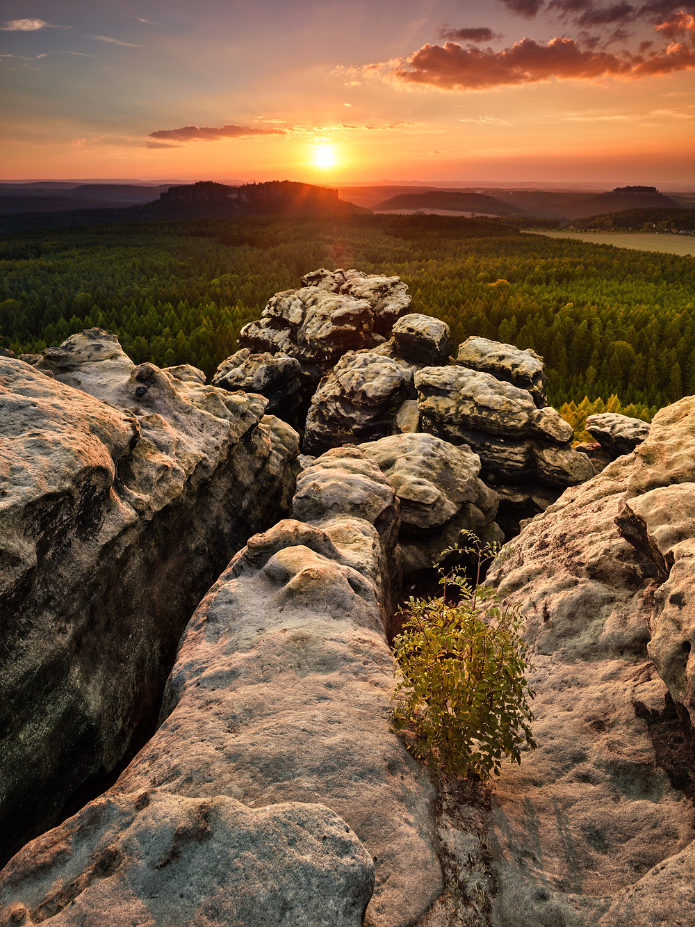 sunset with sandstone formations