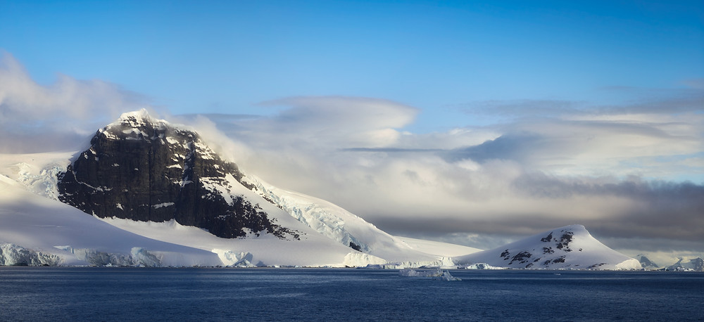 antarctic scene with mountains