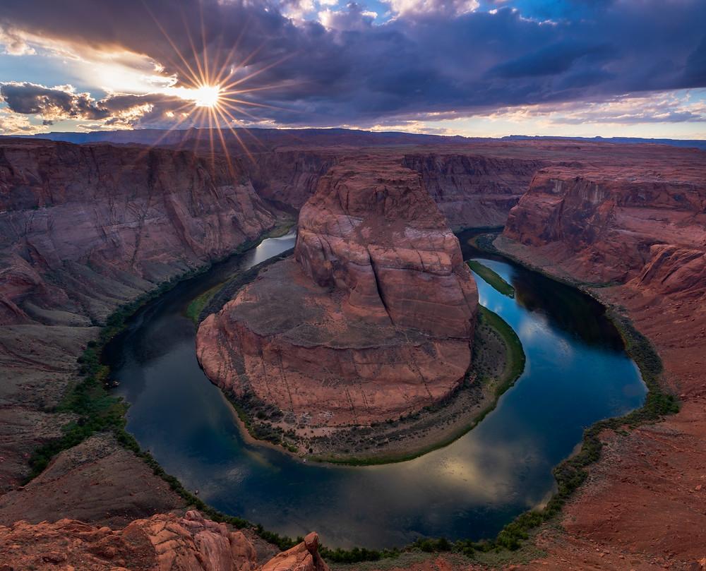 sunset over horseshoe bend