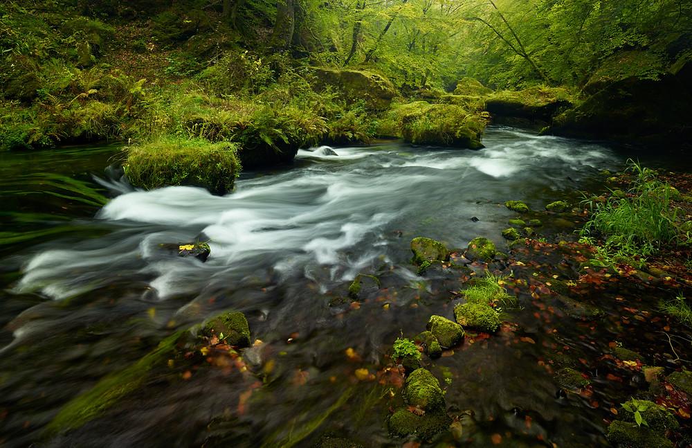long exposure of rushing river