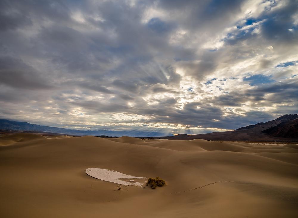 god rays over a desert